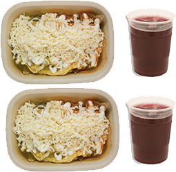 2 Super Combos, 2 Chilaquiles con queso + 2 Aguas