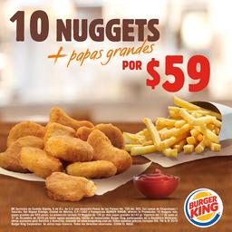 10 Nuggets + Papas Grandes