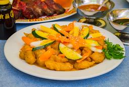 Cerdo, Pollo o Costillas en Salsa Agridulce