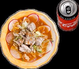 Pozole Grande con Maciza + Refresco Coca-Cola