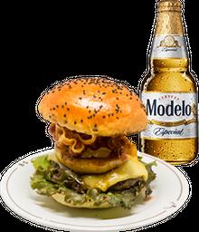 Hamburguesa Mercury + Cerveza Modelo GRATIS