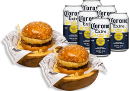 Combo para dos: Dos Wallace Burger + six pack Corona lata 355 ml