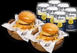 Combo para dos: Dos Tuna Burger + six pack de Corona lata 355 ml