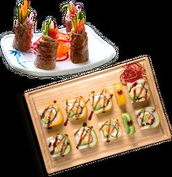 Gyozai + Dragon Roll
