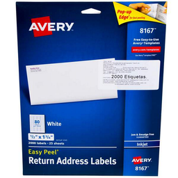 "Etiqueta Inkjet Avery Rectangular Blanca 1/2"" x 1 3/4"" 2000 U"
