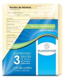 Recibo de Nomina Euroformas Duplicado Blocks de 50 Hojas 3 U