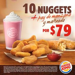 10 Nuggets + Pay de Manzana + Malteada
