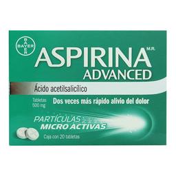 Aspirina Advanced 20 tabletas ácido acetilsalicílico 500 mg