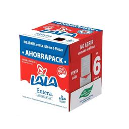 Leche Lala entera caja con 6 pzas de 1 l c/u