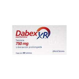 Dabex XR 750 mg, 60 tabletas de liberación prolongada