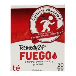 Té negro Remedy 24 fuego con yerba maté y guaraná 20 U