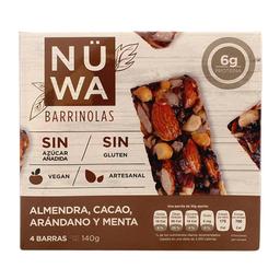Barras Nuwa almendra cacao arándano y menta 4 barras