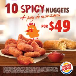 Spicy Nuggets 10 pzs + Pay de Manzana