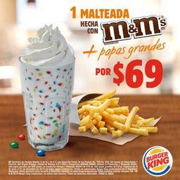 Malteada M&M's 16 oz + Papas Grandes
