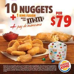 Nuggets 10 pzs + 1 pay de manzana + 1 King Fusion M&M's