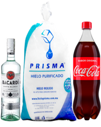 Ron Bacardi Blanco 750 ml+Coca Cola 1.5+Hielo 5kg