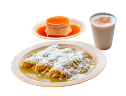 Enchiladas Rellenas con Pollo + Agua + Postre