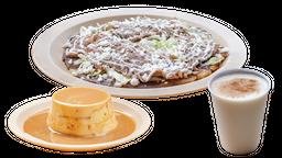 Sope de Bistec con Queso + Agua + Postre