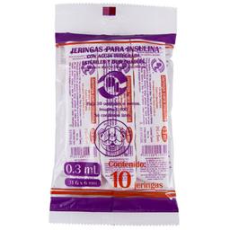 Jeringa Para Insulina Farmacias Similares 0.3 Ml 10 U
