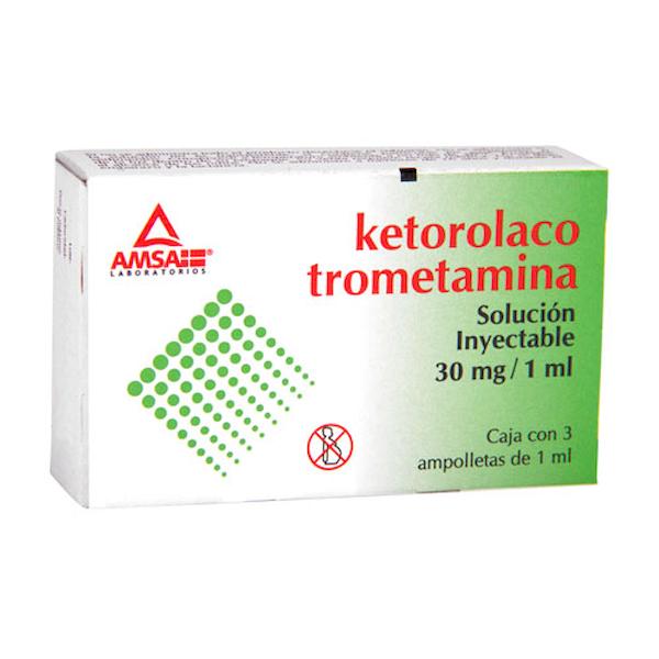 Comprar Ketorolaco Trometamina Solución Inyectable 3 U (30 Mg/Ml)