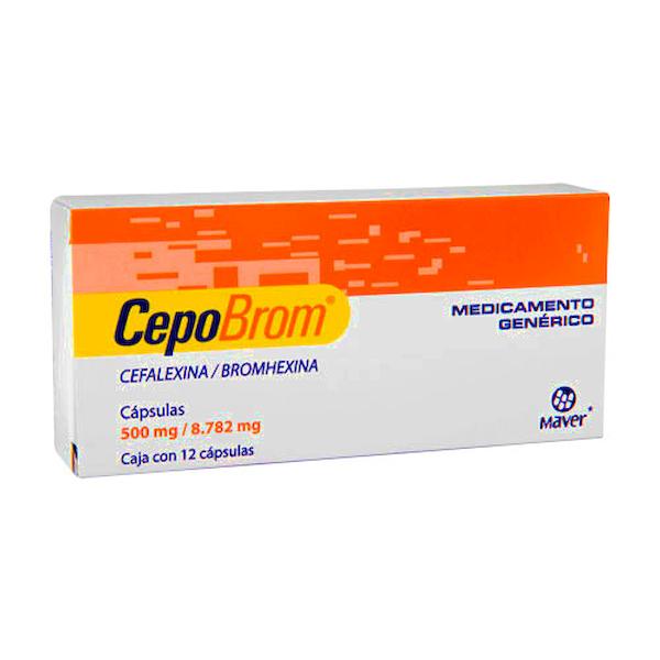 Comprar Cefalexina 500 mg Bromhexina 8.782 mg Cepobrom 12 Cápsulas