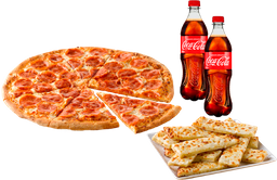 Pizza Pepperoni New York + Cheese Sticks + 2 Refrescos Coca-Cola
