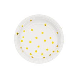 Plato Flexo Color Blanco Con Dorado Chico 8 U