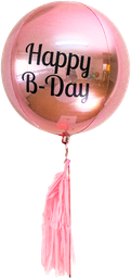 Globo Esfera Metalico Rosa Happy B-Day The Confetti Party 1 U