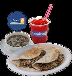 Paquete Sopa del día + Sherezada Tizoncito + Agua Fresca
