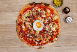 Pizza Pancetta con Tocino y Miel de Maple