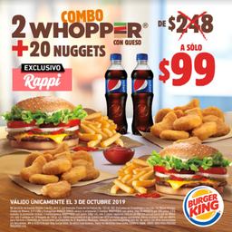 60% Off 2 Combo Whopper + 20 Nuggets