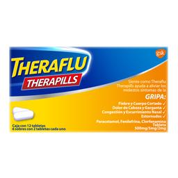 Pastillas Antigripales Theraflu Therapills 12 tabletas