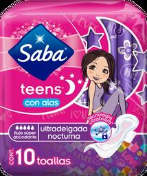 Toalla Femenina Saba Teens Ultradelgada Nocturna Con Alas 10 U