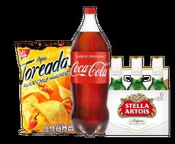 Coca Cola 2.5 L + 6 Stella Artois 355 mL + Papas Toreadas 170g