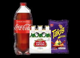 Coca Cola 3L + 6 Pack Stella Artois 330 Ml + Takis Fuego 62 G
