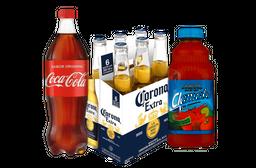 Coca Cola 1L + 6 Pack Corona 355 mL + Clamato Almeja 946 mL