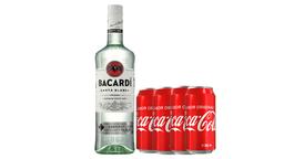 Ron Bacardi Blanco + 4 Coca Cola Lata