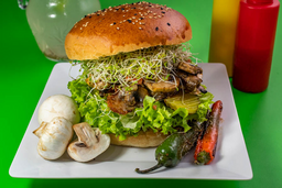 Hamburguesa Vegana Champi-Cheddar