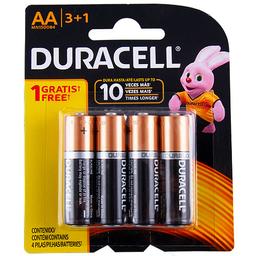Pila Alcalina de Larga Duración Duracell AA 3+1