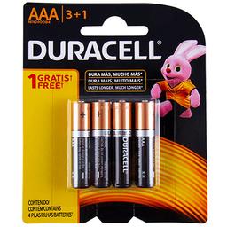Pila Alcalina de Larga Duración Duracell AAA 3+1