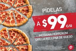 2 Hut Cheese Medianas de Pepperoni x $99 c/u