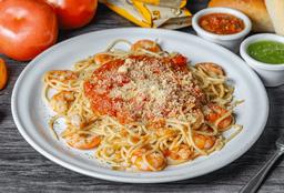 Spaguetti con Camarón en Salsa Portuguesa