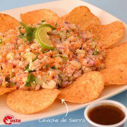 Ceviche de Sierra + Tostitos + Refresco