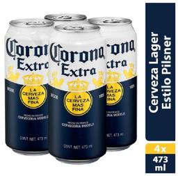 2x1 Cerveza Corona Clara 4 Pzs Lata 473 mL