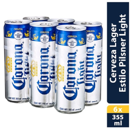 Cerveza Corona Light 6 Pzs Lata 355 mL
