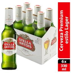 Cerveza Stella Artois Clara 6Pzs 330 mL