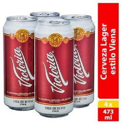 Cerveza Victoria Oscura 4Pzs Lata 473mL