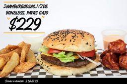 Promo 2 Hamburguesas + 1/2 Kg Boneless + Papas Gajo