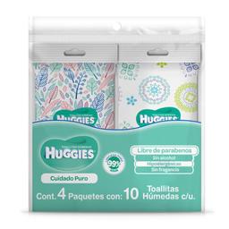 Toallitas Húmedas Huggies Cuidado Puro 4 Paquetes Con 10 U