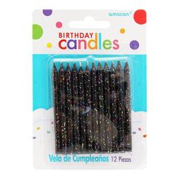 Vela Amscan Con Glitter Negro 12 U